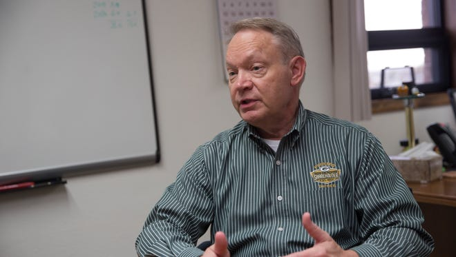 Farmington Municipal School District Chief Financial Officer Randy Bondow talks about a proposed change to how the district pays for its technology on Friday at the district headquarters Farmington.