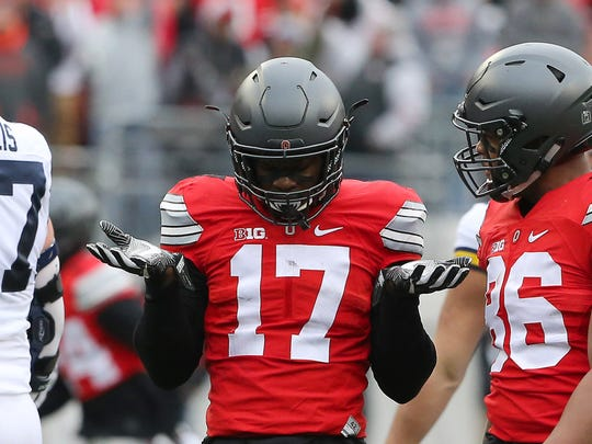 Ohio State linebacker Jerome Baker (17) could prove to be a difference-maker in the Fiesta Bowl.