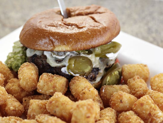 The Rocky Point Burger with tater tots from Cold Beer