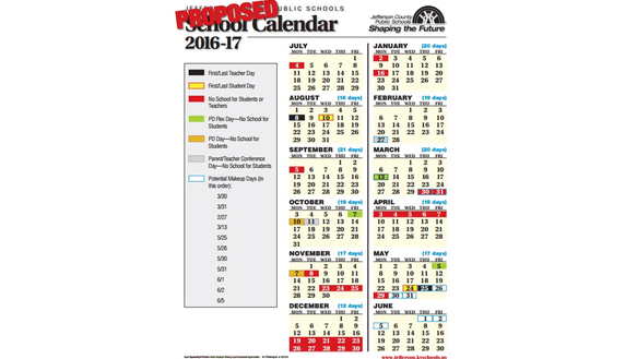 Proposed JCPS 2016-2017 school calendar.