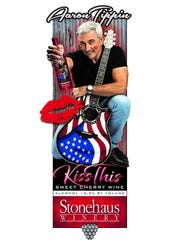 "Aaron Tippin's ""Kiss This"" Sweet Cherry Wine is available now through Stonehaus Winery."