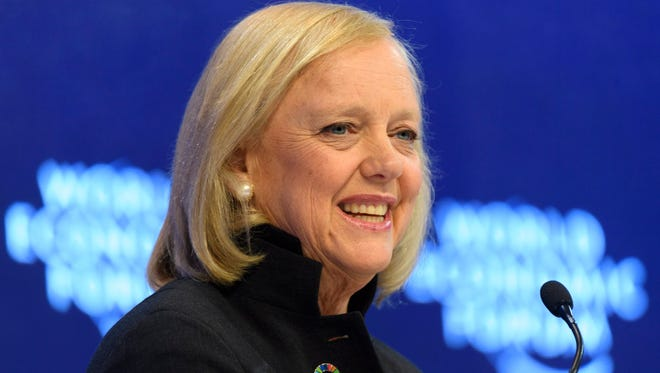 Meg Whitman, chairman and CEO of Hewlett-Packard speaks during a plenary session in the Congress Hall at the 47th annual meeting of the World Economic Forum, WEF, in Davos, Switzerland, on Jan. 18, 2017.