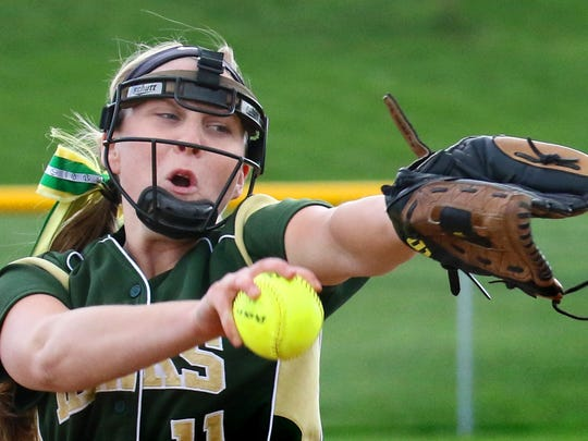 Greenfield's Bella Matthias pitches at Whitnall on May 12, 2016. Matthias was named our All-Suburban Player of the Year in 2015 and 2016.