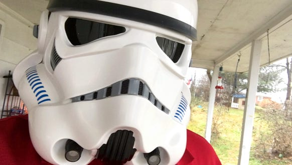 Photographer Mike Tripp wears his new Stormtrooper