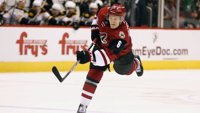 Coyotes' Jakob Chychrun against the Bruins in the 2nd period on Saturday, Nov. 12, 2016 in Glendale, Ariz.
