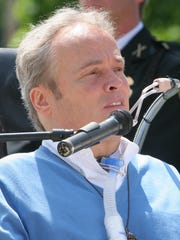 Steven McDonald speaks in 2007 at the Rockland County Law Enforcement Memorial Service in New City.