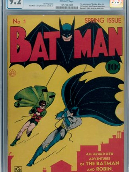 In this undated photo provided Thursday May 10, 2012 by Heritage Auctions, A No. 1 copy of the Batman comic book is shown. A collector has sold a Batman No. 1 comic to an investment partnership for $850,000. Dallas-based Heritage Auctions, which arranged the private transacation between the two parties, announced the sale Thursday. (AP Photo/Heritage Auctions)
