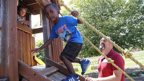 The Jim Dooley Center for Early Learning receives $25,000 from the Ralph C. Wilson Jr. Legacy Fund for Youth Sports for its campaign to build a new playground.