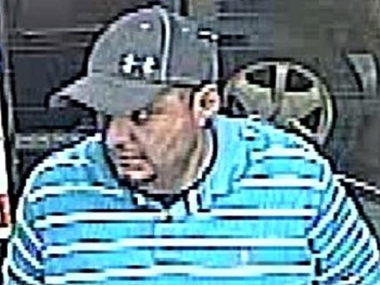 Security cameras recorded a man suspected in a March 21 robbery at the Valero gas station at  7008 Gateway East Blvd.