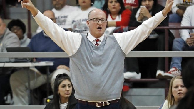 Then-Plainview coach Danny Wrenn yells out to his players during a Region I-5A quarterfinals playoff game against Lubbock-Cooper in February 2019. Wrenn accepted the girls basketball coach position at Kingdom Prep on Wednesday.