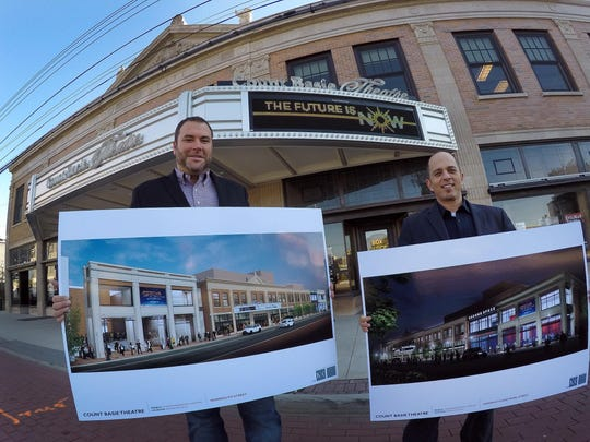 Adam Philipson (right), president & CEO of the Count Basie, and Izzy Sackowitz, vice president of operations, are shown with renderings of the construction plans for the expansion of the theater along Monmouth Street in Red Bank.