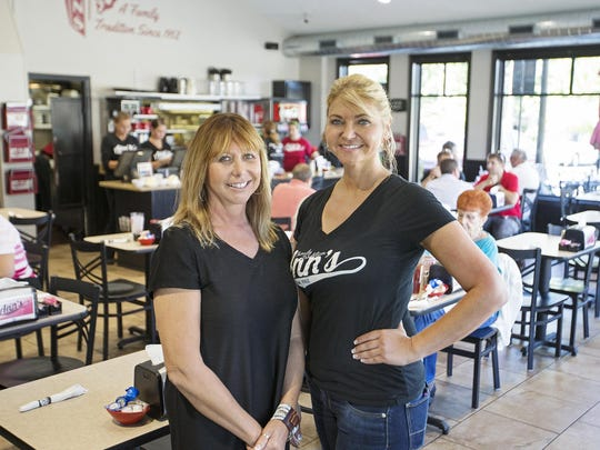 From left, sisters Teresa Matthews and Diana Wilson pose for a portrait at Ann's Restaurant in Franklin, Ind., Tuesday, August 23, 2016. Matthews is the CEO at Tara Treatment Center, where clients are able to transition out of rehabilitation by working at Ann's Restaurant, which Wilson manages.