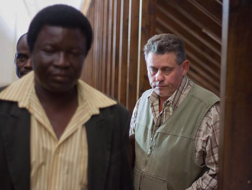 Theo Bronkhorst, right, and Honest Trymore Ndlovu arrive