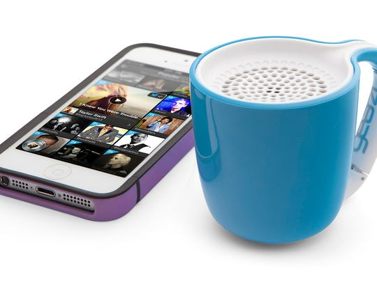 Your guests will do a double-take when they see ThinkGeek's Cup of Mojo, a wireless speaker that looks like a small coffee mug.