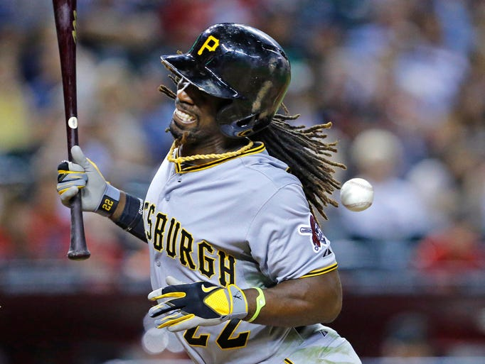After Pirates star Andrew McCutchen got hit by this pitch, the Diamondbacks character took a hit.  David KadlubowskI/azcentral sports
