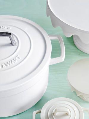 We can use 3-D printers to make prototypes for housewares like this cast-iron pot and cake stand. Collector's 6-quart enameled cast-iron pot, $150; and scalloped cake stand (comes with a glass dome, not shown), $122, by Martha Stewart Collection, macys.com.