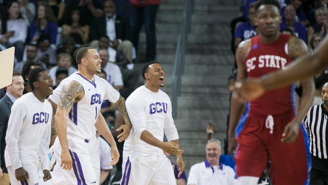 GCU's bench erupts during a win against South Carolina State at GCU Arena in Phoenix, Ariz. on Monday, March 14, 2016.