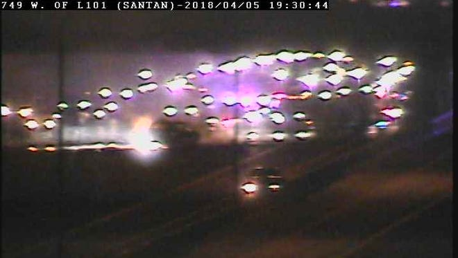A fiery crash on Loop 202 in Chandler shut down part of the freeway.