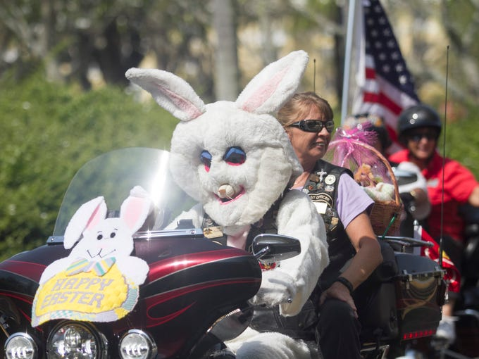 The Easter Bunny arrives on a Harley on Saturday at