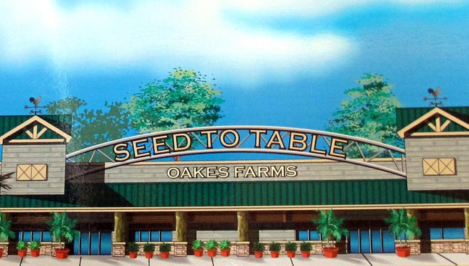 A rendering of the exterior of Oakes Farms' Seed to Table store under construction in the former Albertsons supermarket at Livingston and Immokalee roads in North Naples.