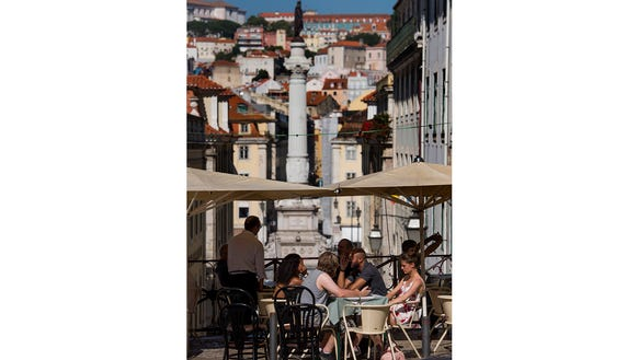 Terrace with a view in Lisbon.