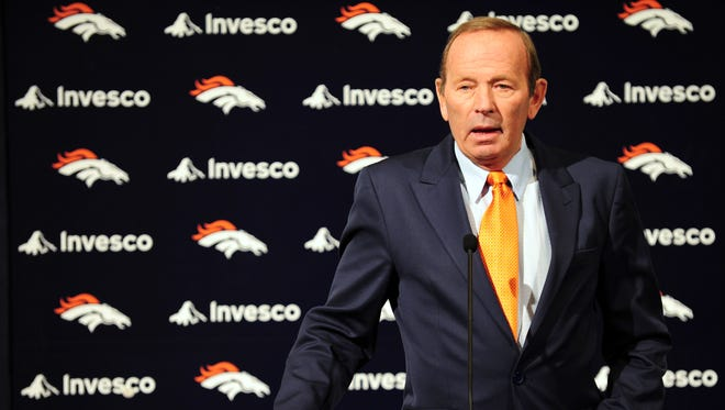 Denver Broncos president and chief executive officer Pat Bowlen speaks to the media during a press conference at Broncos headquarters.