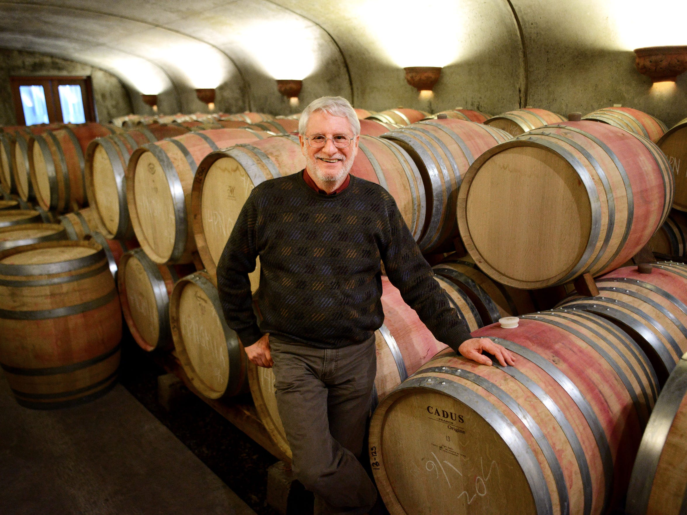 David Adelsheim inside the cellar at Adelsheim Vineyard