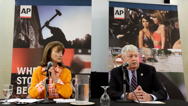 House Speaker Beth Harwell, R-Nashville and Senate Speaker Randy McNally, R-Oak Ridge, answer questions during a legislative preview session sponsored by The Associated Press and the Tennessee Press Association on Feb. 22, 2017, in Nashville.