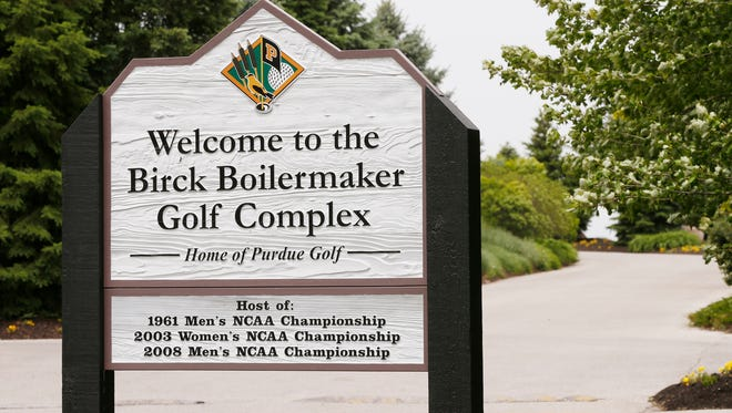 A sign at the entrance to the Birck Boilermaker Golf Complex lists the years Purdue has hosted the NCAA men's and women's golf championships Tuesday, May 16, 2017, in West Lafayette. This week, the course played host to the 2017 men's NCAA golf regional.
