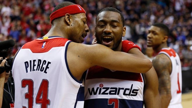 Paul Pierce and John Wall have the Wizards one win from a first-round sweep.
