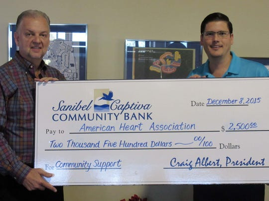 Sanibel Captiva Community Bank contributed $2,500 to the American Heart Association's community support fund.