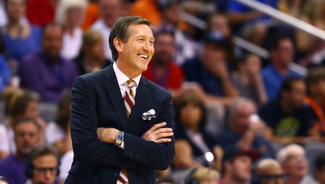 Mar 22, 2015: Phoenix Suns head coach Jeff Hornacek against the Dallas Mavericks at US Airways Center. The Suns defeated the Mavericks 98-92.