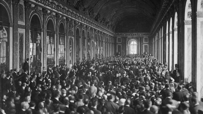 The signing of the Treaty of Versailles on June 28, 1919, attracted a huge crowd to the Hall of Mirrors.