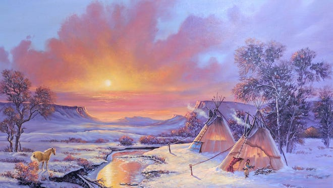 """""""Golden,"""" a painting by Shirley Sand, is one of the pieces up for grabs at the Shadows of the Past Auction in Choteau."""