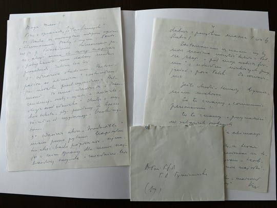 """Picture taken on February 16, 2016 in Warsaw shows a letter written in 1976 by Cardinal Karol Wojtyla, later Pope John Paul II,  to Professor Anna-Teresa Tymieniecka. The director of Poland's national library dismissed a BBC report alleging that pope John Paul II had a close relationship with a married woman lasting 30 years as a """"Valentine's Day joke."""""""