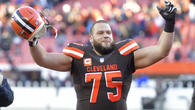 Browns left guard Joel Bitonio celebrates Nov. 11 after the Browns beat the Atlanta Falcons 28-16 in Cleveland in 2018.