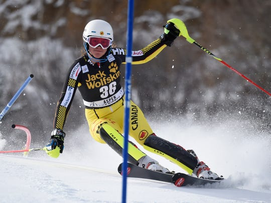 Laurence St. Germain of Canada competes during the Audi FIS Alpine Ski World Cup Women's Slalom on November 29, 2015, in Aspen, Colorado.