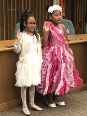 Morse Elementary School fourth-graders MoNahjae Dickens (left) and Emani Ferzan, were recently elected as the school's first president and vice president, respectively. They were sworn in at City Hall on Sept. 21, 2017.