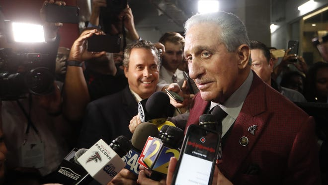 Atlanta Falcons owner Arthur Blank speaks to the media after an NFL game between the Falcons and the Seattle Seahawks on Oct. 27, 2019, in Atlanta. The Seahawks won 27-20.
