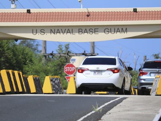 In this May 11, 2017, file photo, cars enter Naval