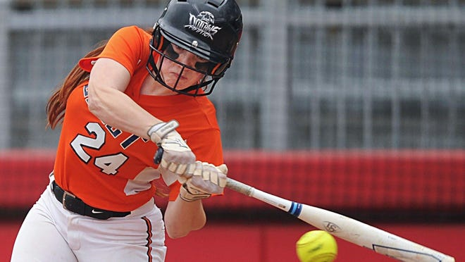 Ellet's Rosie Hayes connects with a pitch in a City Series championship game.