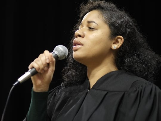 "Anessa F. Al-Musawwir performs ""Do Nothin' Til You Hear From Me"" at the Fall, 2015 MSU Commencement Saturday, December 19, 2015."