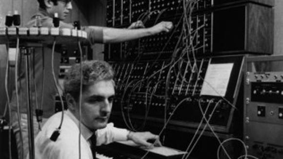 An image of Bob Moog included in the new public exhibit on Broadway.