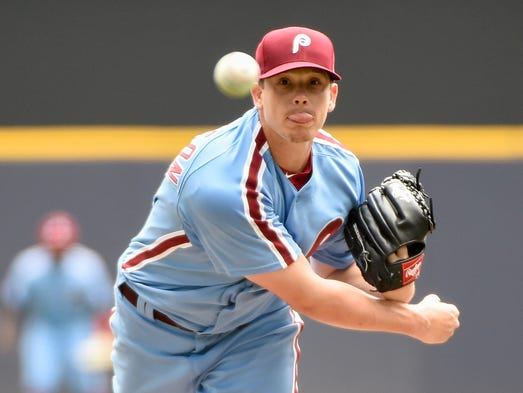 The Phillies'  Jeremy Hellickson throws a pitch in