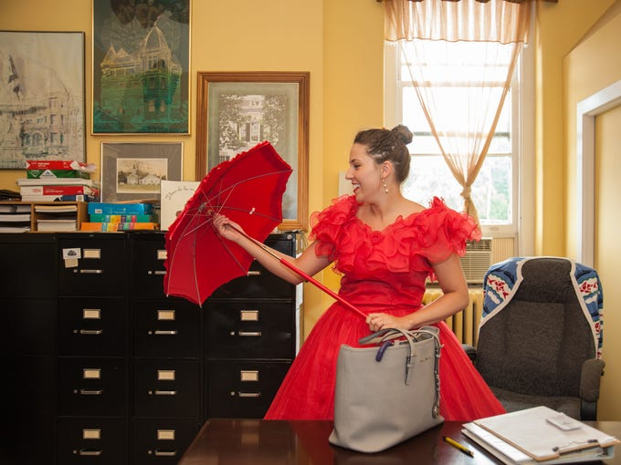 On her third day of Conrad Caldwell House Museum's Capital Campaign, Executive Director Ally Wroblewski prepares to leave her office to run errands downtown, and spread awareness of the museum by wearing period costumes in The 30 Days of Wearing History Challenge everyday. July 3, 2014