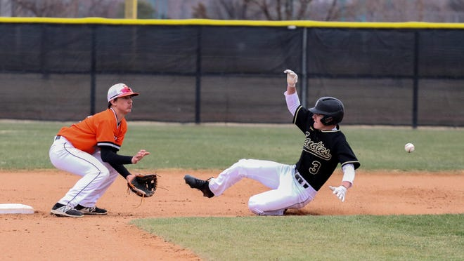 An Amarillo High baseball player slides into second at Sandie Field during a baseball game. During Monday's regular meeting, the Amarillo Independent School District Board of Trustees made a 4-3 decision to start the turfing process for all softball fields and the infield of the baseball fields, along with a five-yard buffer, at each of the four high schools.
