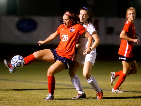Oakland's Monica Mullaney (26) maintains possession