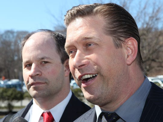 Stephen Baldwin Actor Stephen Baldwin answers questions March 29, 2013 outside the Rockland County Courthouse while standing with his attorney Russell M. Yankwitt. Baldwin pleaded guilty to repeated failure to pay state income tax and was ordered to pay $300,000 in restitution. He has already paid $100,000.( Joe Larese/The Journal News )
