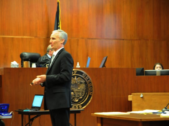 Marion County Deputy District Attorney Kurt Miller addresses jurors on April 27, 2018, at the Marion County courthouse, during closing arguments in the trial of Denzel Hawthorne, who was accused of aggravated murder in the 2016 death of a Salem man.