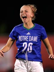 Green Bay Notre Dame High School's Lucy Quidzinski celebrates a 1-0 victory against Catholic Memorial High School during their WIAA Division 3 final girls state soccer game Saturday, June 16, 2018, at Uihlein Soccer Park in Milwaukee, Wis.